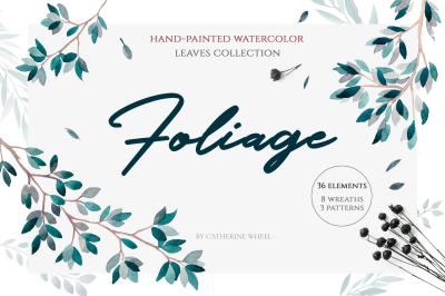 Foliage leaves watercolor set