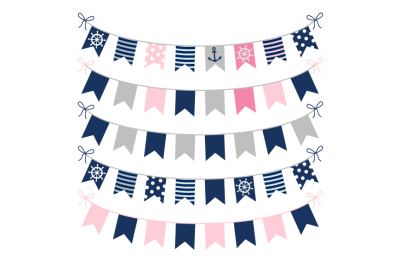 Girl nautical bunting clipart, Pink grey blue banner clip art, pennant, flags