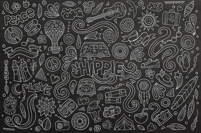 Hippie Objects & Symbols Set