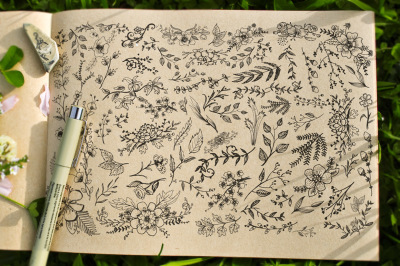 Carefully Handsketched vector floral library