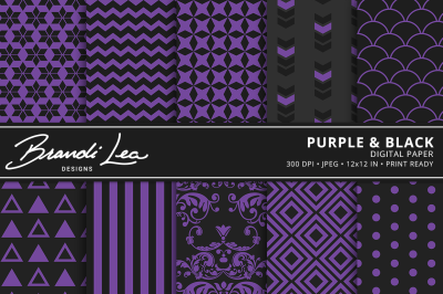 Purple & Black Digital Paper Pack