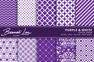 Purple & White Digital Paper Pack