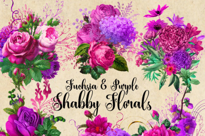 Fuchsia and Purple Shabby Florals
