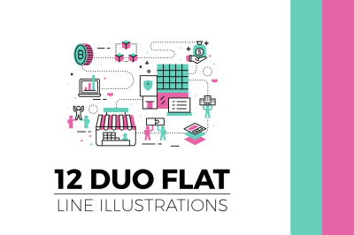 Flat Line Web Banner Illustration