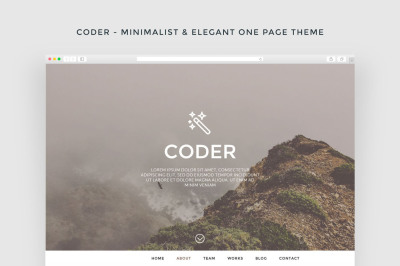 Coder - Minimalist & Elegant One Page Theme + FREE PSD