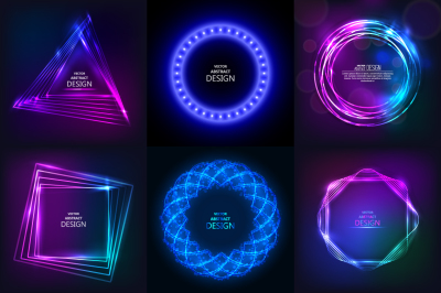 Set of sparkling neon banners