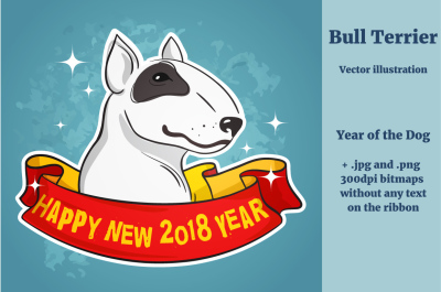 Bull Terrier with a Ribbon, Vector Illustration
