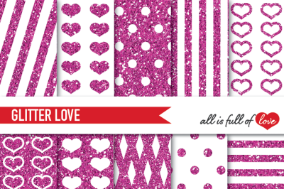 Pink Glitter Digital Paper Pack Magenta Sparkle background