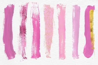 Brush Strokes Clipart - Pink