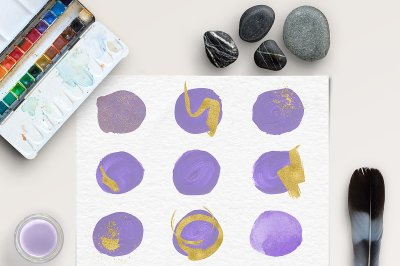 Brush Stroke Clipart - Violet & Gold