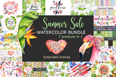 Summer Sale Watercolor Tropical Bundle 80%OFF
