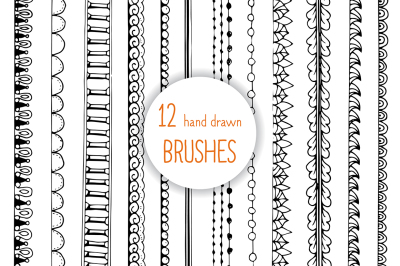 12 DOODLE Hand drawn AI brushes