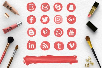 Red Social Media Icons, Brush Stroke