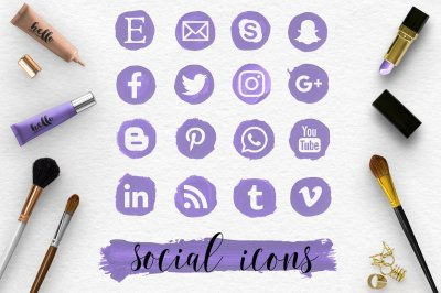 Social Media Icons & Brush Stroke