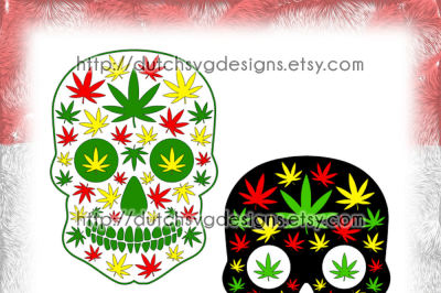 Skull cutting file with weed leaves, in Jpg Png SVG EPS DXF, for Cricut & Silhouette, sugar skull svg, weed svg, weed leaves svg, marijuana