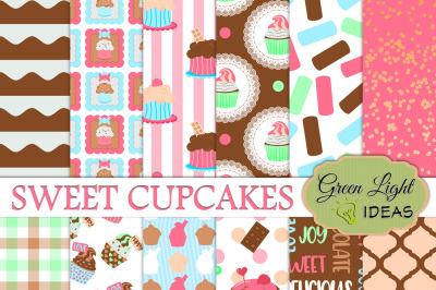Cupcake Digital Papers, Cupcake Backgrounds, Party Scrapbook Papers