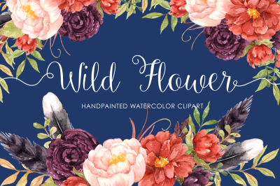 Wild Flower Watercolor Clip Arts