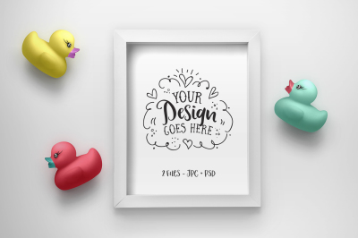 Cute Rubber Duck Frame Mockup (with PSD) 25-003