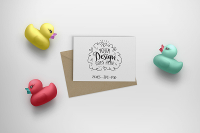 Rubber Duck Greeting Card mockup  (with PSD) 25-013