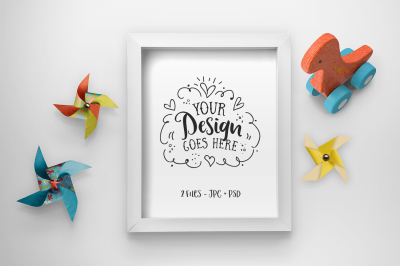 Cute toy mockup with white frame (includes PSD) 25-007