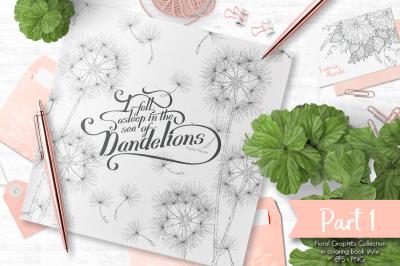 Sea of Dandelions (Part 1) - Elegant floral graphic set
