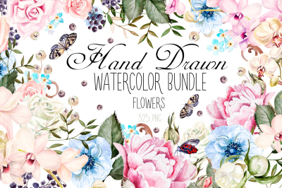 Hand Drawn Watercolor BUNDLE 4