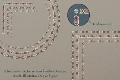 Boho border. Vector pattern brushes. Mini set.