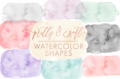 SALE }} Soft & Pretty Watercolor Shapes & Forms
