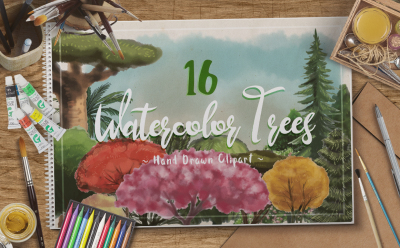 Watercolor Trees Cliparts