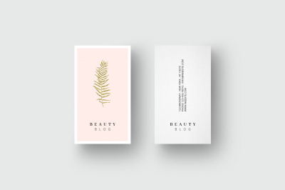 Business card template golden leaf