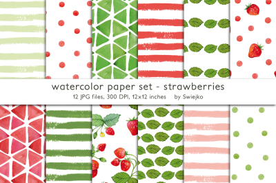 Watercolor strawberries background set