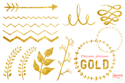 19 Gold Textured Graphic Elements
