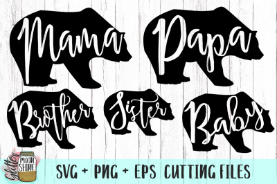 Bear Family Bundle of SVG PNG DXF EPS Cutting Files