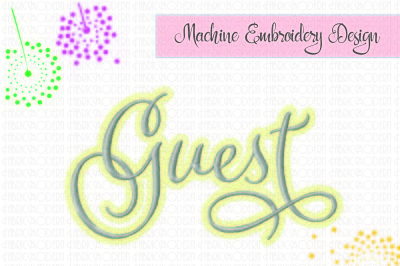 Guest, Towel design, Embroidery Design. guest towel embroidery, Fancy script with flourishes, six sizes, wedding, linens, #891