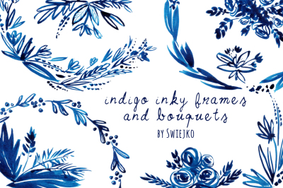 Indigo elements - frames, bouquetes, flowers