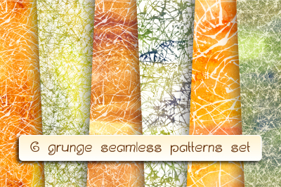 6 grunge artistic patterns set