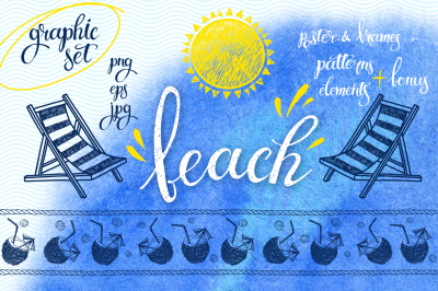 Beach. Graphic set.