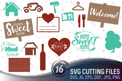 16 home vectors -  cutting files, SVG, PNG, JPG, EPS, AI, DXF