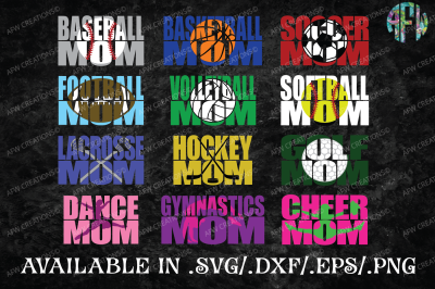 Sports Mom Bundle - SVG, DXF, EPS Cut Files