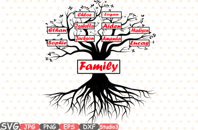Split Family tree SVG Word Art Cutting Files Family Tree Deep Roots monogram clipart Silhouette Vinyl dxf Cricut Design Studio3 cameo -400bs