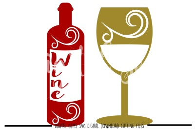 Wine bottle and glass SVG / EPS / DXF / PNG files