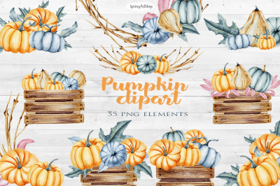 Autumn pumpkin watercolor set
