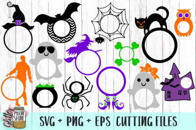 Halloween Monogram Frame Bundle SVG PNG EPS Cutting Files