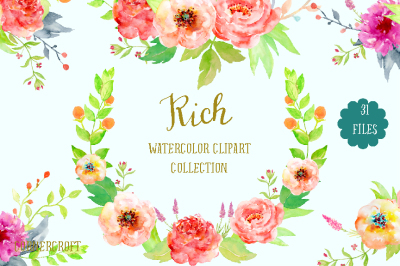 Watercolor Clipart Collection Rich