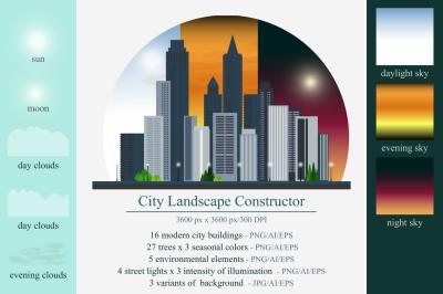 City landscape constructor. Bundle.
