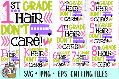 School Hair Don't Care Bundle of SVG PNG EPS Cutting Files