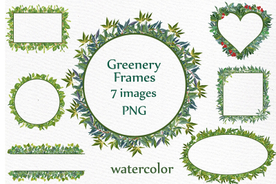 Watercolor Greenery Frames clipart