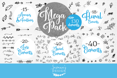 SVG Element Bundle, SVG Swirls, Swirls SVG, SVG Borders, Doodles SVG, Banners and Flourishes SVG, Borders SVG, SVG Leaf, Flower and Vine SVG