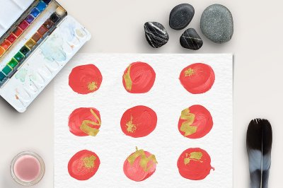 Red & Gold Brush Strokes Clipart