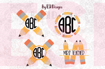 Pencil Monogram Design Set - Back to School - SVG, DXF, EPS & PNG